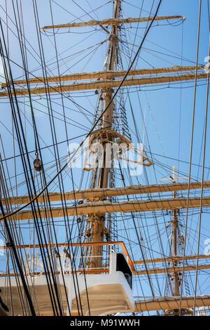 Flying bridge, main mast and sailor climbing ratlines on mizzen mast, Kaiwo Maru, Steveston pier, British Columbia - Stock Photo