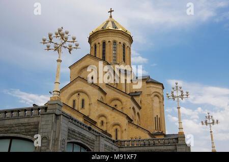 Tsminda Sameba Cathedral (Holy Trinity Cathedral), Tbilisi, Georgia - Stock Photo