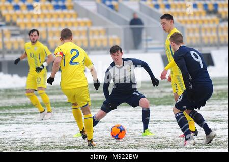 Valeriy Bondar #2 (UKR) and Johnatan Svedberg #14 (SWE)  - UEFA European Under 19 Championship 2018, Elite Round -  game between Sweden and Ukraine, Photo: Cronos/Cristian Stavri, Ploiesti, 21.March.2018 - Stock Photo