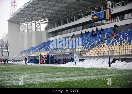 The empty stables of the Ilie Oana stadium in Ploiesti, Romania- UEFA European Under 19 Championship 2018, Elite Round -  game between Sweden and Ukraine, Photo: Cronos/Cristian Stavri, Ploiesti, 21.March.2018 - Stock Photo