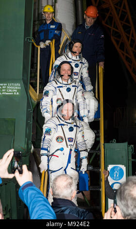 Baikonur Cosmodrome, Kazakhstan. 21st Mar, 2018.  International Space Station Expedition 55 crew boards the Russian Soyuz MS-08 rocket for lifts off from the Baikonur Cosmodrome March 21, 2018 in Baikonur, Kazakhstan. Russian cosmonaut Oleg Artemyev, bottom, of Roscosmos and American astronauts Ricky Arnold, center, and Drew Feustel, top, of NASA will spend the next five months living and working aboard the International Space Station. Credit: Planetpix/Alamy Live News - Stock Photo
