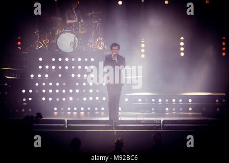 Norway, Oslo - March 21, 2018. The English pop singer Harry Styles performs a live concert at Oslo Spektrum in Oslo. (Photo credit: Gonzales Photo - Tord Litleskare). Credit: Gonzales Photo/Alamy Live News - Stock Photo
