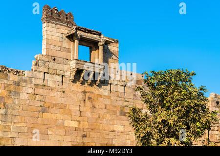 Walls of Champaner Fort - UNESCO heritage site in Gujarat, India - Stock Photo