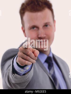 purposeful businessman pointing forward.