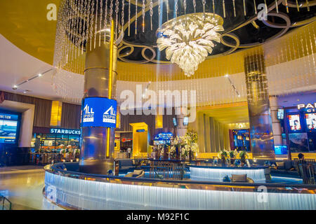 BANGKOK, THAILAND, FEBRUARY 02, 2018: Indoor view of Siam Paragon shopping mall. With 16 screens and 5,000 seats, the Cineplex is Thailands largest movie - Stock Photo
