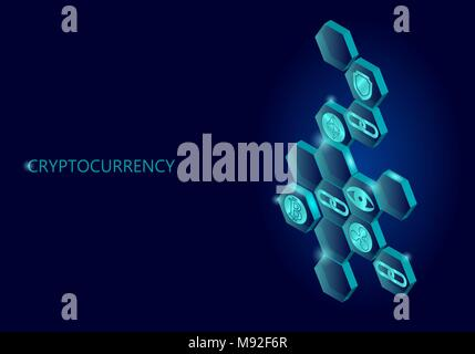 Blockchain blue isometric composition. Flat glowing hexagon sign safety shield Bitcoin Ethereum Ripple coin cryptocurrency online global 3d payment digital mining vector illustration - Stock Photo