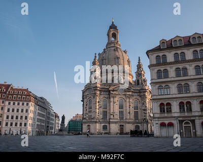 Our Lady's church / Church of Our Lady (Frauenkirche) in and Luther statue in the early morning, Dresden, Saxony, Germany - Stock Photo
