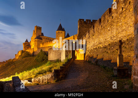 Gated entry to the fortified Cite Carcassonne, Occitanie, France - Stock Photo