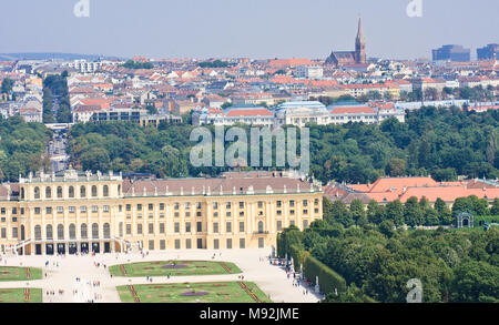 Panorama of Schonbrunn Palace in Vienna, Austria - Stock Photo