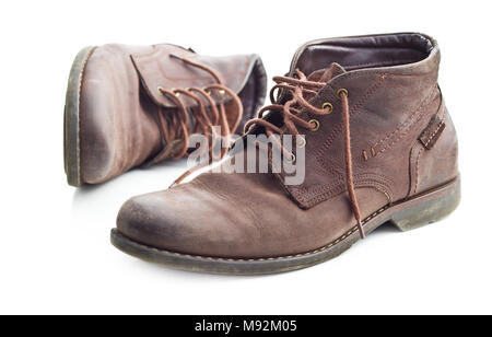 The leather boots isolated on white background. - Stock Photo