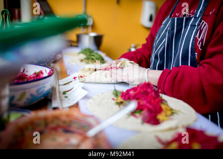 Fresh and delicious chicken shish kebab being prepared hygienically in a burritos or fajitas wrap and covered with salad including red lettuce, grated - Stock Photo