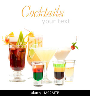 Alcohol Shot Drink on fancy blurred Cocktails Background - Stock Photo