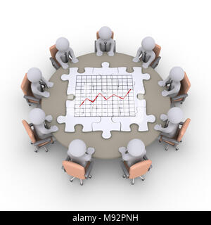 Businessmen sitting around a table and some puzzle pieces with a chart are on it - Stock Photo