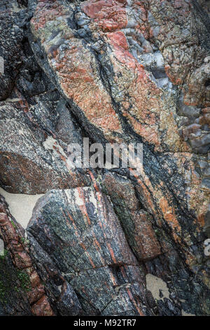 Rocks at Mangursta beach on the Isle of Lewis in the Outer Hebrides. - Stock Photo