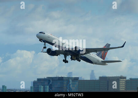 Delta Air Lines Boeing 757 Jet Airliner, Climbing Away From Los Angeles International Airport, LAX, California, USA. - Stock Photo