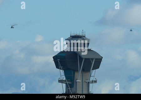 Presidential Helicopter, Marine One, Carrying President Donald Trump To Los Angeles International Airport, LAX, Together With The Decoy Helicopter. - Stock Photo