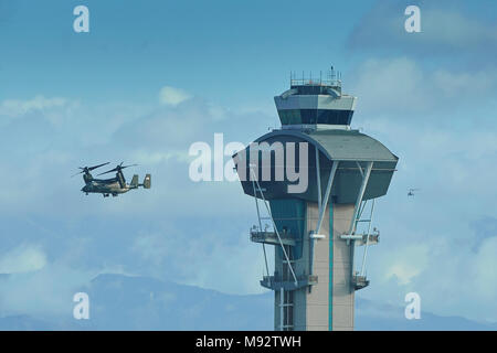 US Marine Corps MV-22B Osprey, Escorting President Trump, Approaches Los Angeles Airport, LAX, Following His Visit To Los Angeles. 14 March 2018. - Stock Photo