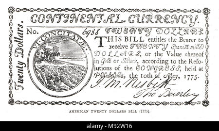, issued by the Continental Congress, American War of Independence, 1775–1783 - Stock Photo