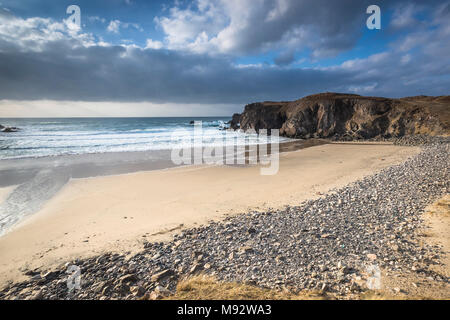 Storm beach at Mangursta on the Isle of Lewis in the Outer Hebrides. - Stock Photo