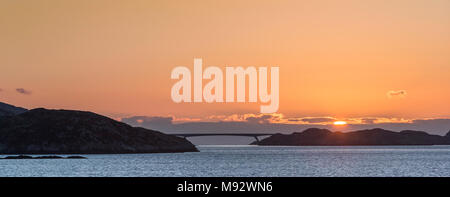 Sunrise over Isle of Scalpay Bridge from Tarbert on the Isle of Harris in the Outer Hebrides. - Stock Photo