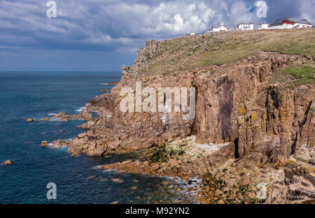 Land's End. View of the Cornish coastline and the Atlantic ocean. In Cornwall, United Kingdom. - Stock Photo