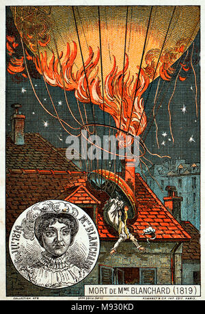 Sophie Blanchard (25 March 1778 – 6 July 1819) first woman to work as a professional balloonist, wife of ballooning pioneer Jean-Pierre Blanchard. Death of Blanchard, an illustration from the late 19th century - Stock Photo
