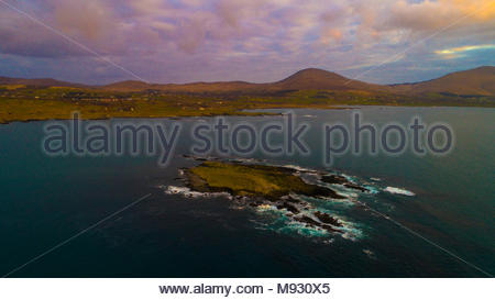 Eyeries Island in Coulagh Bay on the Beara peninsula - Stock Photo