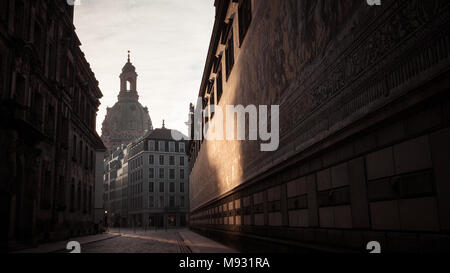 Our Lady's church / Church of Our Lady (Frauenkirche) in the early morning light, as seen from the Procession of Princes (Fürstenzug) -Dresden,Germany - Stock Photo