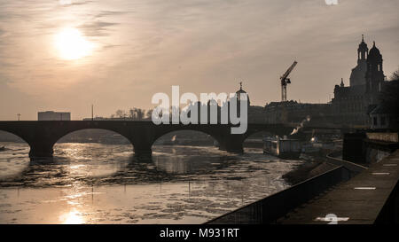 View over the Augustus Bridge, Elbe River, Our Lady's Church (Frauenkirche), Catholic Church (Kath. Hofkirche) in Dresden, Saxony, Germany - Stock Photo