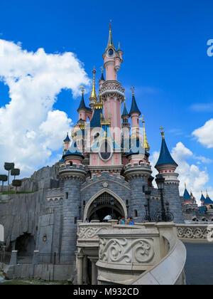MARNE-LA-VALLEE, FRANCE - July 31st, 2016 - Sleeping Beauty Castle in Disneyland Resort Paris - Stock Photo