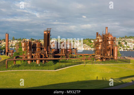 Gas Works Park by Lake Union in Seattle Washington - Stock Photo