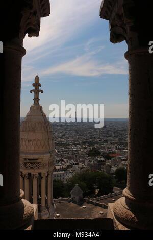A view from top of Basilique du Sacré-Coeur, Paris, France - Stock Photo