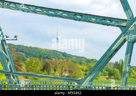 Dresden, Saxony, Germany - The television tower viewed between braces of the Blue Wonder Bridge. - Stock Photo