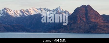 A panorama of the Cuillin Ridge taken from Elgol - Stock Photo