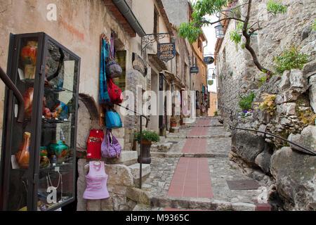 Souvenir shop at a narrow alley of medieval Èze Village, Provence, Var, Cote Azur, South France, France, Europe - Stock Photo