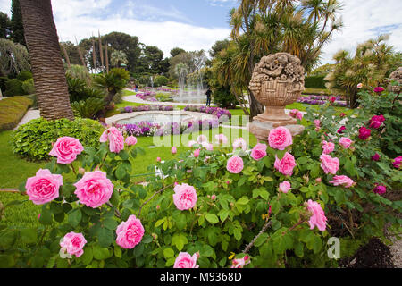 Marvellous garden and park at Villa Ephrussi de Rothschild, tuscan architecture at Cape Ferrat, South France, Var, Cote Azur, France, Europe - Stock Photo