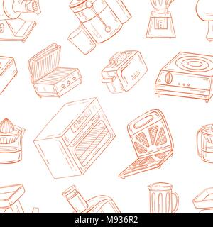 Household appliances for the kitchen, cafe and restaurant. Vector illustration of seamless pattern in hand-drawn graphics. Meat grinder, juicer, oven, - Stock Photo