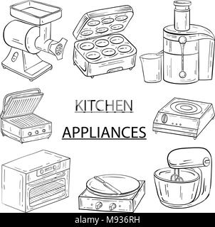 Household appliances for the kitchen, cafe and restaurant. Vecto - Stock Photo