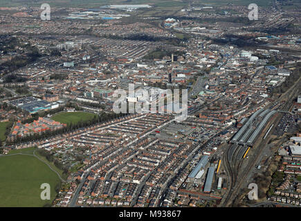 aerial view of Darlington town centre, County Durham, UK - Stock Photo