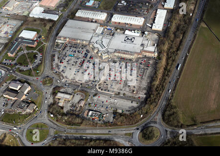 aerial view of Morrisons supermarket at Morton Park, Darlington, County Durham, UK - Stock Photo
