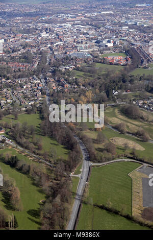 aerial view of the A167 at Blackwell, looking north towards Darlington - Stock Photo