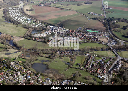 aerial view of the north east side of Ripon around the River Ure - Stock Photo