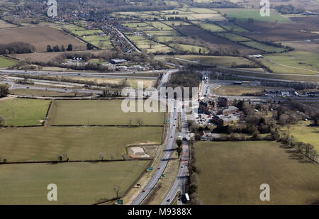 aerial view of Scotch Corner, A1(M) junction 54 at A66, UK - Stock Photo