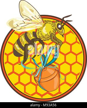 Icon retro style illustration of a bumblebee or bumble bee, member of genus Bombus, part of Apidae of bee family, carrying honey pot with beehive and  - Stock Photo