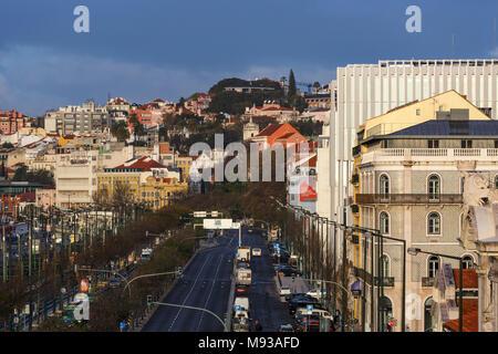 View from east along Avenida 24 de Julho. Energia de Portugal Headquarters, Lisbon, Portugal. Architect: Aires Mateus, 2016. - Stock Photo