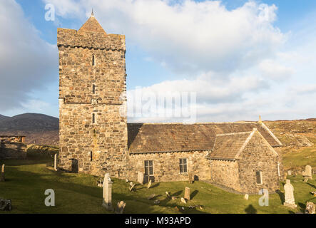 Historic Church of St Clements at Rodel on the Isle of Harris in the Outer Hebrides. - Stock Photo