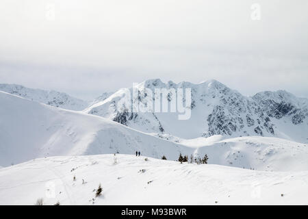 Two people, couple walking on a snowy trail in winter Tatra Mountains near Roháče summits. - Stock Photo
