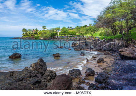 Out of the way Makena Landing Beach Park on the island of Maui in the state of Hawaii USA - Stock Photo