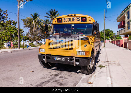 VARADERO, CUBA - MARCH 04, 2018: American school bus in Varadero. Old american school bus on the street. Cuba. - Stock Photo