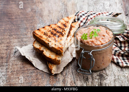 Forshmak  paste from mackerel on wooden table - Stock Photo